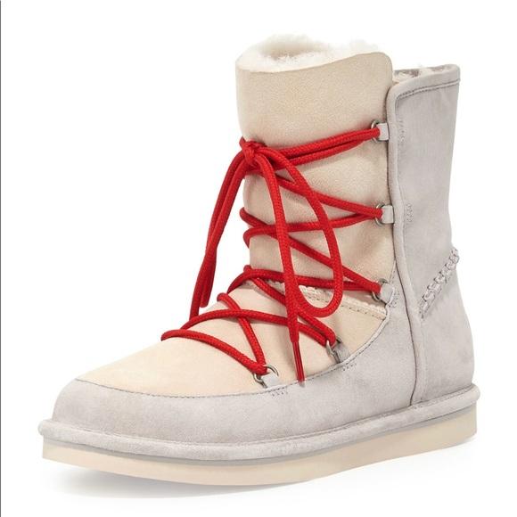 0936c5361b3 UGG Women Lace Up Sheepskin Lodge White Boots